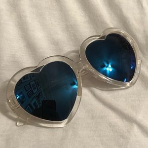 GUESS Clear Rim Blue Lens Sunglasses
